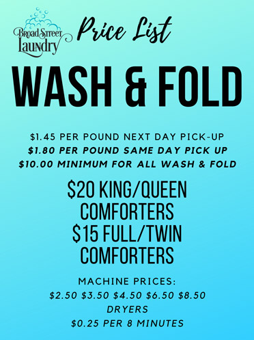 Wash & Fold Pricing List